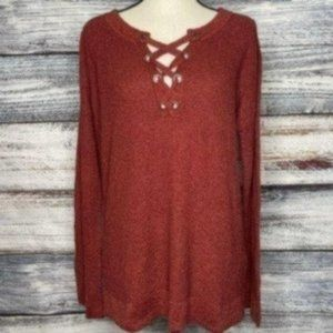 American Eagle Lace Up Grommet Sweater Tunic